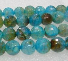 8mm Faceted Multicolor Dragon Veins Agate Round Loose Bead 15""