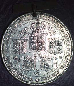 UK Edward VII Coronation Medal 1902 Aluminium 38mm Henry Grueber VF Cleaned (86)
