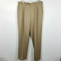 JB Britches Nordstrom Winston Mens Khaki Brown Pleated Cuffed Dress Pants 36x34