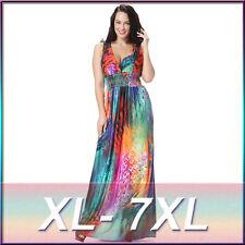Women Oversize Rainbow Color Boho Long Maxi Beach Dresses Sundress Plus Size