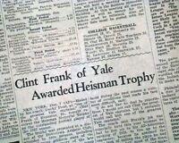 CLINT FRANK Yale University Football Halfback Wins HEISMAN TROPHY 1937 Newspaper
