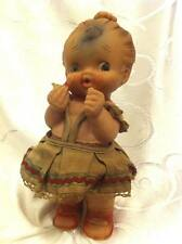 GIRL WITH LIPSTICK RUBBER DOLL, ORIGINALLY DRESSED, MAYER, ISRAEL ~ Rare