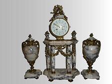 Pendule cassolettes Horloge marbre bronze Style Louis XVI  clock