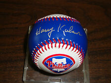 Harry Kalas---Autographed Baseball---Blue Phillies Ball With Logo