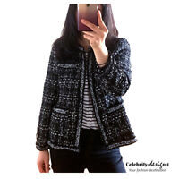 Women's Black & White Classic Tweed Boucle Jacket Blazer Sydney Australia 14 16