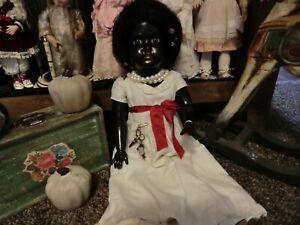 Antique Black bisque head B5  doll ,23 inch