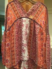 NEW Anthropologie Maeve Printed Silk Lurex Peasant Tunic Blouse Top Size L $168