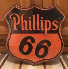 Embossed PHILLIPS 66 Pump Petroleum Motor Oil Texaco Sinclair Mobil Can Wall