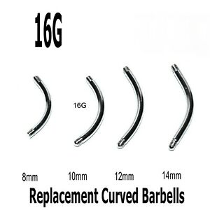 Eyebrow Bars 10 Curved Threaded Barbell Blanks Spare Rook Snug Helix Belly 16g