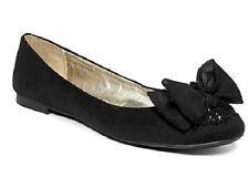 Material Girl Sadie Rhinestone Bow Flat Black Womens 11 M US - MSRP $49