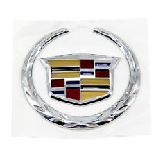 4 In Rear Grille Emblem Silver Crest Wreath Badge For Cadillac ATS SRX CTS