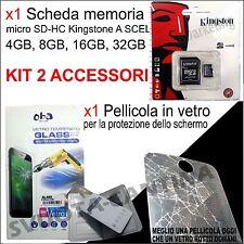 kit MEMORIA MICRO SD SDHC + PELLICOLA IN VETRO PER Samsung Galaxy S6