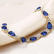 Sweet Cute Girl Gold Plated Crystal Blue Sapphire Zircon Beads Chain Bracelet