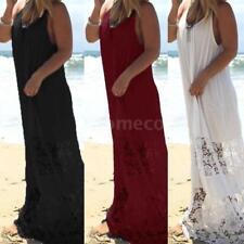 Women Summer Dress Solid Lace Casual Loose Long Beach Maxi Plus Size Dress K3E6