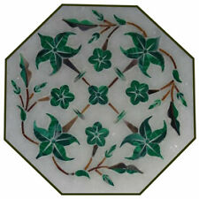 """12"""" white marble table top center coffee home decor inlay octagon malachite"""