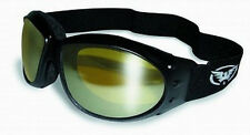 GLOBAL ELIMINATOR SUN GLASSES JET SKI  GOGGLES BLK W/ FOAM YELLOW MIRRORED LENS