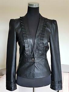 Haney & Beau Size 12 Black Genuine Leather One Button Ruffle Collarless Blazer