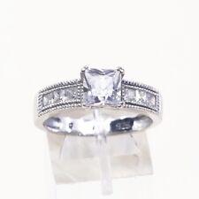 925 Silver Engagement Ring W/ Cz Sz 9.75, Vtg Sterling Silver Fashion Ring,