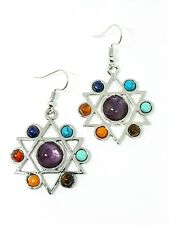 Star Of David Earrings Cemstone Real Crystal Chakra Beads Unique UK Seller