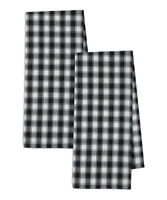 Set of 2 BLACK & WHITE  FRENCH CHECK Cotton Dish Towels