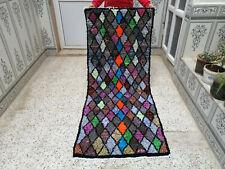 Old Handhooked Moroccan Rug vintage Azilal Rug beni ourain carpet 2×6.5 ft