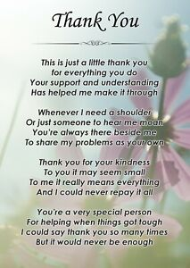Thank you Poem Verse A6 Laminated Card Ideal Friend & Family Gift F459