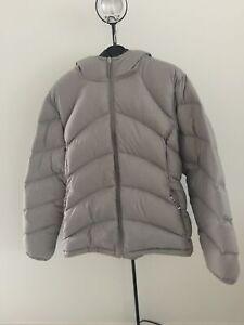 Kathmandu Size 18 Ladies Silver Grey Duck Down Hooded Puffer Jacket 550