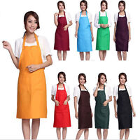 New Women Solid Cooking Kitchen Restaurant Bib Apron Dress with Pocket Gift EB