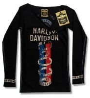 Harley Davidson Trunk LTD Genuine Parts Girls Juniors Long Sleeve Shirt New NWT