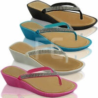 NEW WOMENS LADIES DIAMANTE LOW WEDGE HEEL THONG TOE POST FLIP FLOPS SANDALS SIZE