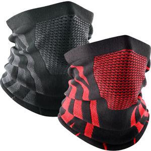 2PCS Winter Sports Neck Warmer Gaiter Fleece Tube Scarf Bandana Ski Face Mask