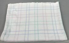 Vintage Baby Crib Blanket Pastel Plaid Stripe White Pink Green Tight Woven Weave