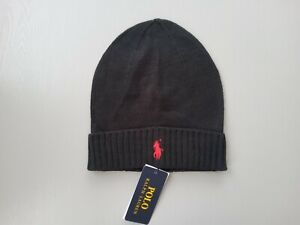 New Polo Ralph Lauren Genuine Unisex Cotton Black Beanie Red Pony Includes Tags