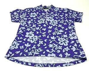 VINTAGE Canari Bike Cycle Jersey Size Medium M Adult Purple White 1/4 Zip Tee