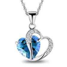 Halskette Herz Love Anhänger Zirkonia Blau Collier 925 Sterling Silber pl