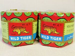 LOT OF 2 NEW WILD TIGER BALM ** Muscles Ointment **Herbal Rub Massage** 08/2022
