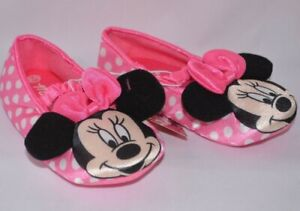 DISNEP MINNIE MOUSE MICKEY PINK POLKA DOT SLIPPERS SHOES FLATS SIZE 9 / 10 NEW
