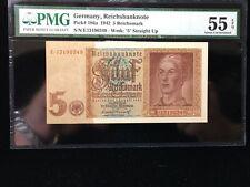 1942  NAZI Germany 5 Reichsmark Banknote SWASTIKA Low Grade