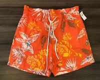 GAP NWT Women's Orange Tropical Floral Cotton Blend Drawstring Shorts-Size M