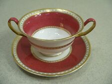 Wedgwood China ULANDER Ruby 2 Handled Cream Soup Bowl Cup with Saucer