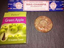 Round Soapstone Incense Burner Holder for Sticks & Cones with Apple & Nag Champa