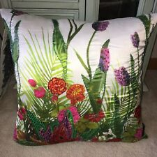 Cynthia Rowley Beaded Tropical Floral Multicolor Decorative Throw Pillow 18""