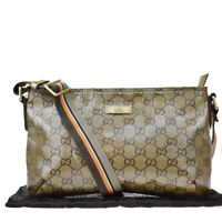 Auth GUCCI GG Pattern Shoulder Bag Coating Canvas Leather Bronze Italy 66MG936
