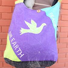 Peace on Earth Patchwork Hippie Bag, Cotton Side Carry Bag (Purple)