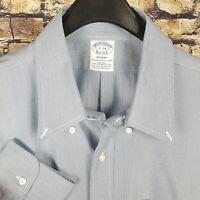 BROOKS BROTHERS Mens Blue White Two Tone Dress Shirt 17-34 Regent Non-Iron