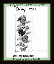 STUFFED BIRD Ornaments HOLIDAY Tree Christmas Fabric Sew Pattern VTG Design 7545