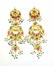 Vintage antique solid 20k Gold jewelry Diamond polki Emerald Ruby earring Pair