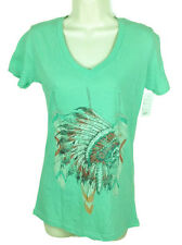 Cowgirl Up Womens V-Neck Shirt NWT Sz Medium Mint Head Dress Short Sleeve CG1852