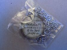 Alice in Wonderland 'Bonkers' Inspirational Pendant & Chain Necklace - new