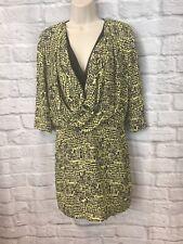DIANE VON FURSTENBERG Rachel Lily Silk Crepe Tweed Yellow Silk Dress Size 6